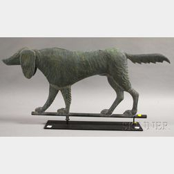 Patinated Molded Copper Setter Hunting Dog Weather Vane