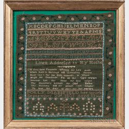 "Needlework Sampler ""Polly Mansfield,"""