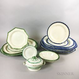 Eighteen Pearlware Platters, Plates, and a Small Covered Tureen