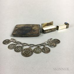 Sterling Silver Cigarette Case, Bracelet, and Lipstick Compact