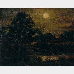 Attributed to Ralph Albert Blakelock (American, 1847-1919)      Moonlight Forest