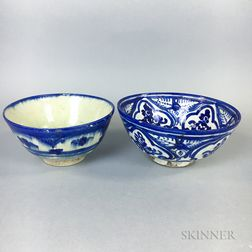 Two Persian Blue and White Ceramic Bowls