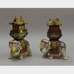 Two Asian Elephant-form Incense Burners