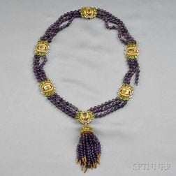 14kt Gold, Yellow Sapphire, and Amethyst Necklace