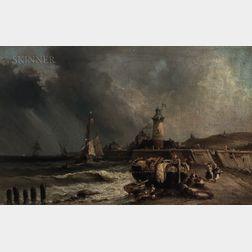 School of Hermanus Koekkoek Jr. (Dutch, 1836-1909)      Coastal Scene with Lighthouse and Beached Vessel