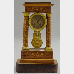 French Rosewood Portico Clock
