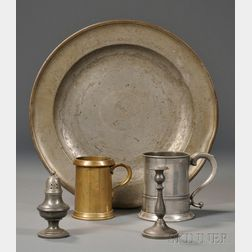 Four Pewter Items and a Half-pint Brass Measure
