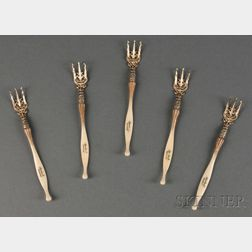 Ten Whiting Manufacturing Co. Ivory Pattern Sterling Silver Oyster Forks,D New York, c. 1890, each with gold-washed tines with reti...