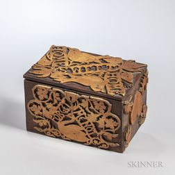 Victorian Carved Walnut and Maple Box