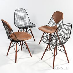 Four Ray and Charles Eames for Herman Miller Early Production PKW-2 Wire Chairs