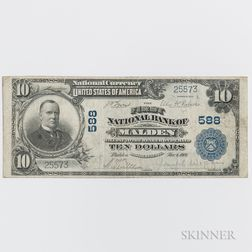 1902 The First National Bank of Malden Plain Back $10 Note