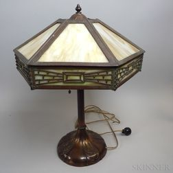 Arts and Crafts Bronzed Metal and Slag Glass Table Lamp