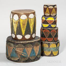 Six Southwest Taos Drums