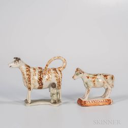 Two Staffordshire Creamware Cow Groups