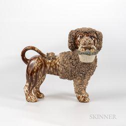 Rockingham-glazed Dog Figure with Basket