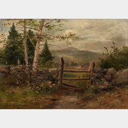 George Frank Higgins (American, 1850-1884)      Landscape with Fence