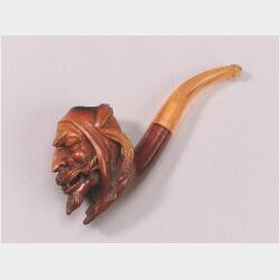 Meerschaum Pipe Carved with the Bust of Mephistopheles