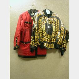 Chanel Boutique Quilted Red and Black Silk Jacket and Chanel Printed Silk Jacket.