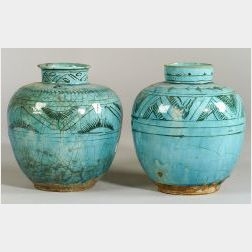 Two Hispano-Moresque Turquoise Glazed Urns