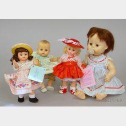 Four Vintage Plastic Dolls