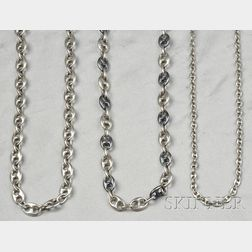 Three Sterling Silver Anchor Link Chains