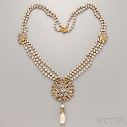 Miriam Haskell Gold-tone, Pearl, and Rhinestone Sautoir-type Necklace