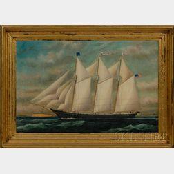 William Pierce Stubbs (American, 1842-1909)      Portrait of the Schooner JAMES BOYCE