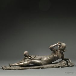 Ary Bitter (French, 1883-1973)       Silvered Bronze Nymph with Cherub