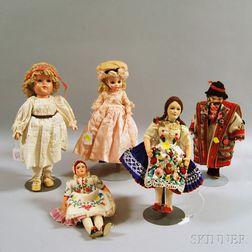 Five Antique Dolls