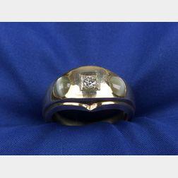Gentleman's Cat's-eye Chrysoberyl and Diamond Ring