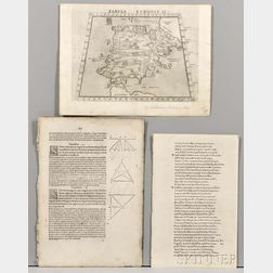 Incunabula Leaves and Ptolemy Map.