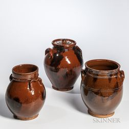 Three Manganese-decorated Redware Jars