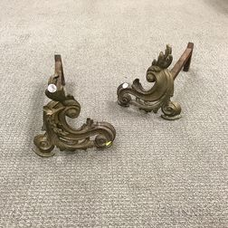 Louis XV-style Brass Andirons