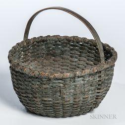 Blue-painted Ash Splint Basket