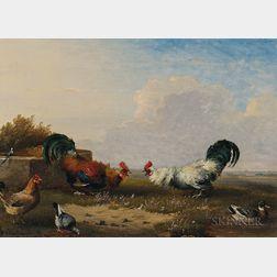 Franz Van Severdonck (Belgian, 1809-1889)      Combat de Coqs
