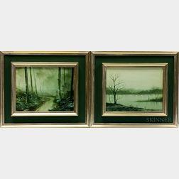 Michael Hill (British, b. 1956)      Two Landscapes: Woodland Stream