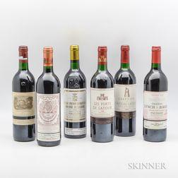 Mixed 1990 Bordeaux, 6 bottles