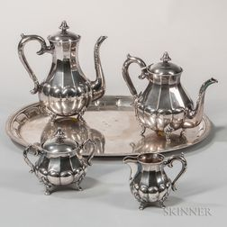 Five-piece German .835 Silver Tea and Coffee Service