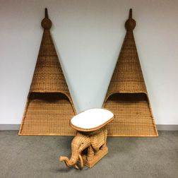 "Pair of ""Serenade"" Headboards and an Elephant Table in Natural Wicker"