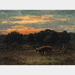 George Arthur Hays (American, 1854-1945)      Ploughin At Dusk