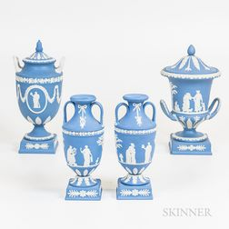 Four Modern Wedgwood Light Blue Jasper Items