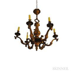 Louis XV-style Six-light Bronze Chandelier