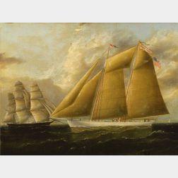 James Edward Buttersworth (British/American, 1817 - 1894)    Portrait of the Schooner Walter Franci,s