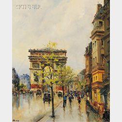 Julian Brosius (French, 20th Century)      Lot of Two Paris Views: Flower Market