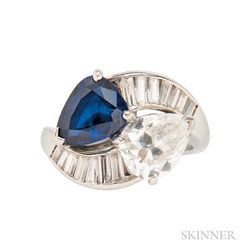 Platinum, Sapphire, and Diamond Bypass Ring, Cartier