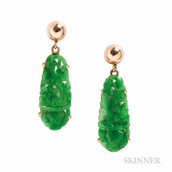 14kt Gold and Jade Earrings