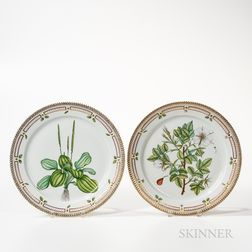 Two Royal Copenhagen Flora Danica Round Serving Platters