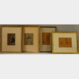 Lot of Four Framed Drawings of Baroque Figures by Charles Constant      Hoffbauer (American, 1875-1957)