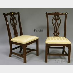 Set of Six Ethan Allen Chippendale-style Ivory Damask-upholstered Cherry Dining Chairs.