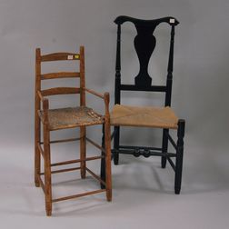 Maple and Ash Ladder-back High Chair and a Black-painted Country Side Chair